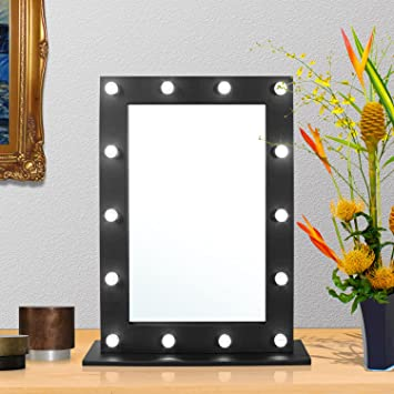 Taylor Brown Hollywood Miroir De Maquillage Avec Eclairage Led A Fixer Au Mur Noir Dressing Table Mirror