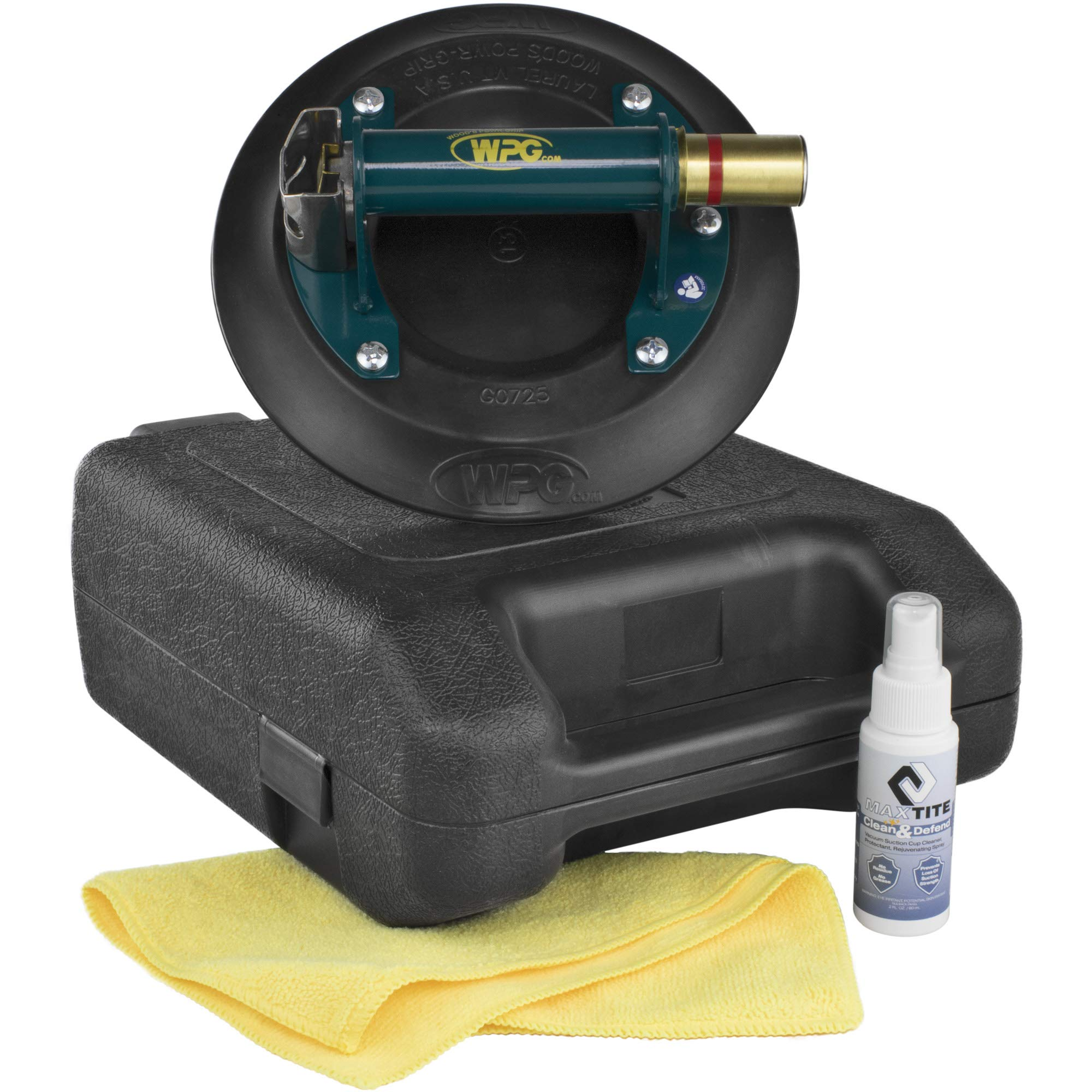 9'' Wood's Powr-Grip N5450 Metal Handle Plunger Vacuum Suction Cup Lifter 150lbs Capacity w/Case Bundled with MaxTite Clean & Defend Vacuum Suction Cup Cleaner and Microfiber Cleaning Cloth by Wood's Powr-Grip, MaxTite