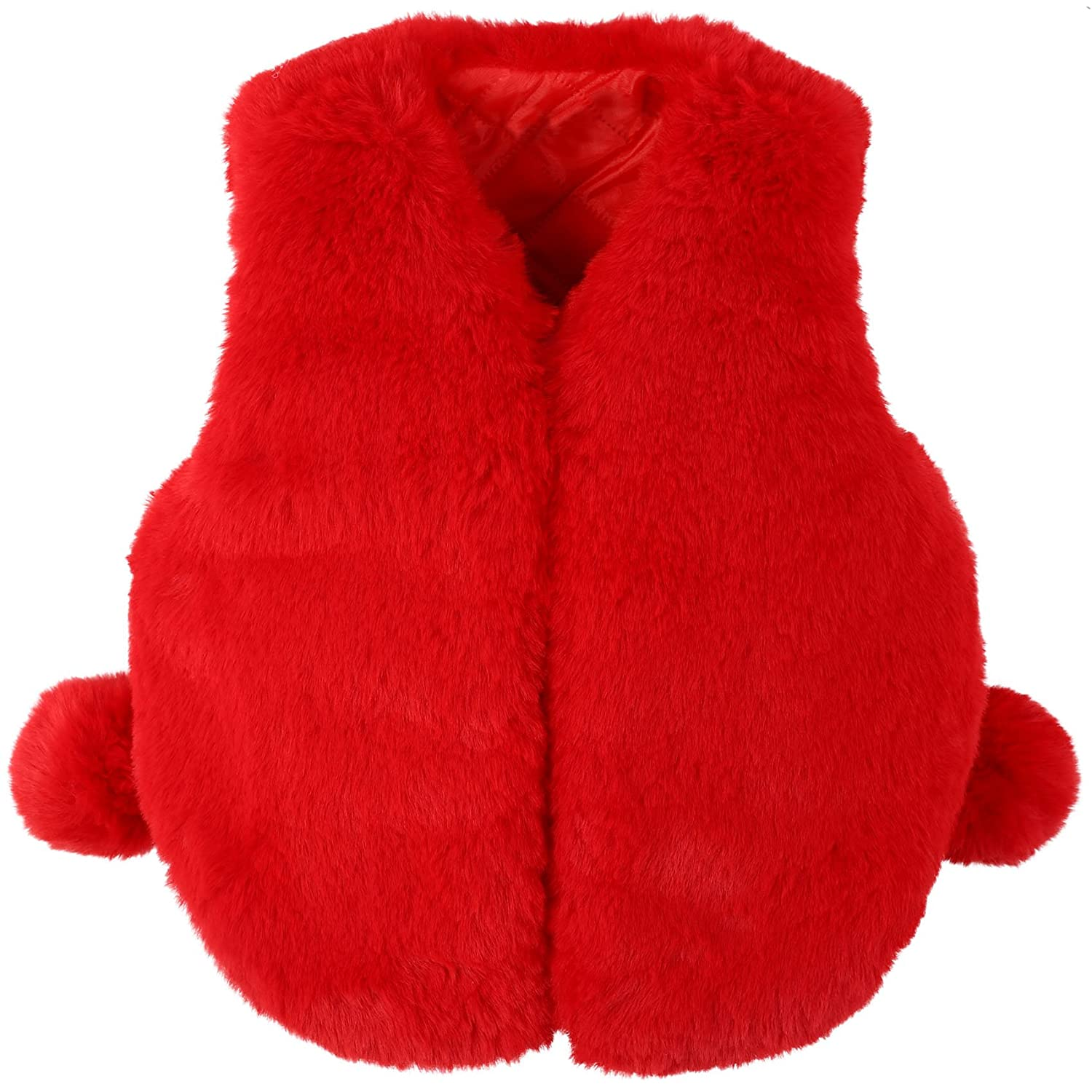 Ephex Toddler Girls' Soft Fur Gilet Jacket Vest Sleeveless Outwear with Cute Ball Age 2-11T
