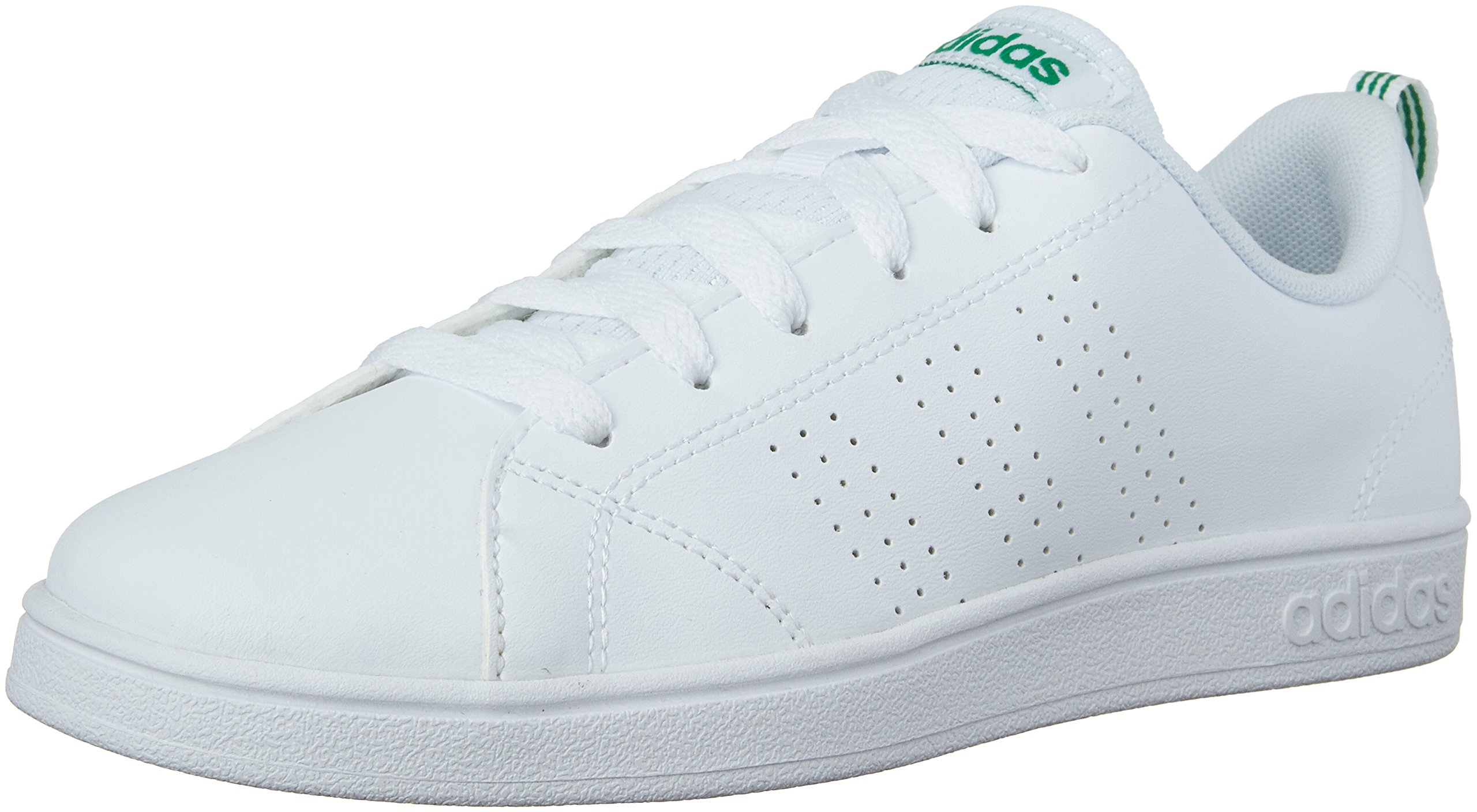 adidas Kids' VS Advantage Clean Sneaker, White/White/Green, 1.5 M US Little Kid by adidas (Image #1)