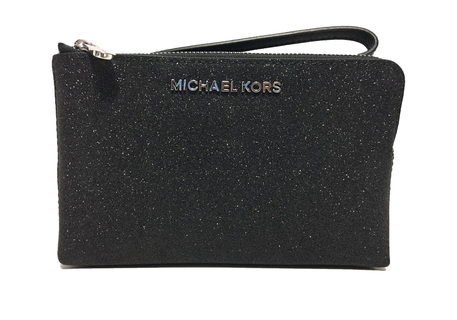 Michael Kors Jet Set Travel Double Zip Wristlet Black Glitter