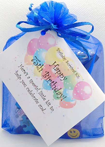 75TH Birthday Survival Kit For Him ROYAL BLUE Joke A Fun Card