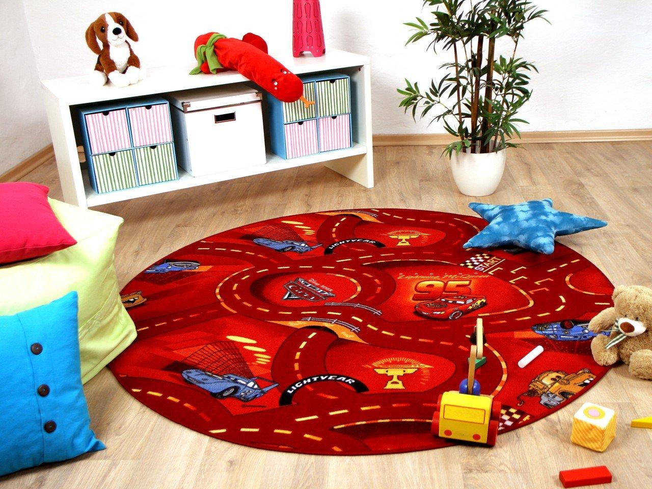 Kinder und Spielteppich Disney Cars Rot Rund in 7 Größen - Größe:400 cm Rund