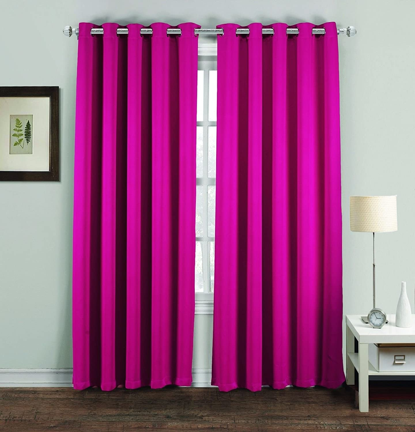 Ring Top Thermal Blackout Curtains | Ready Made Light Reducing Curtains for Plain Room Darkening Living Rooms Nursery Bedrooms |46 x 54, Chocolate Midlands Beddings