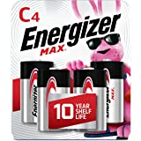 Energizer Max C Batteries, Premium Alkaline C Cell Batteries (4 Battery Count) - Packaging May Vary