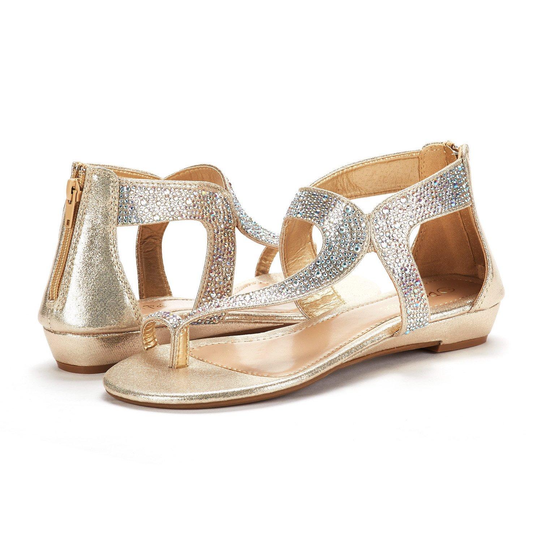 2f8e6d87a35 DREAM PAIRS Womens WEITZ  02 Fashion Rhinestones Low Wedge Sandals ...