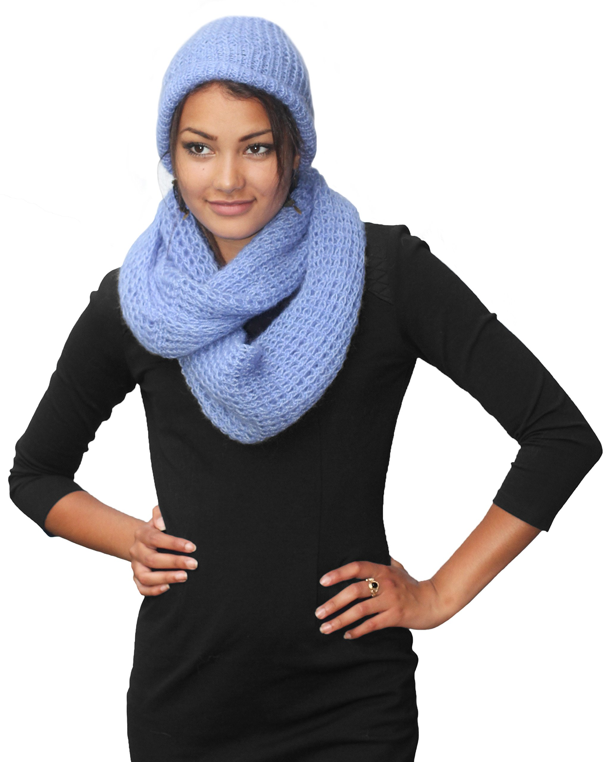 MADE TO ORDER IN ANY COLOR - Knitted PURE ALPACA Scarf and Hat Set - Periwinkle ( by BARBERY Alpaca Accessories