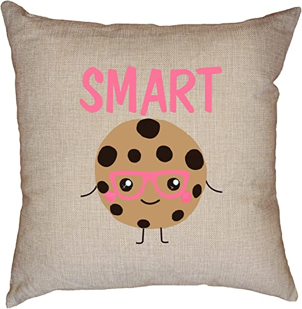 Amazon Com Hollywood Thread Smart Cookie Cute Pink Glasses Yummy Fun Decorative Linen Throw Cushion Pillow Case With Insert Home Kitchen