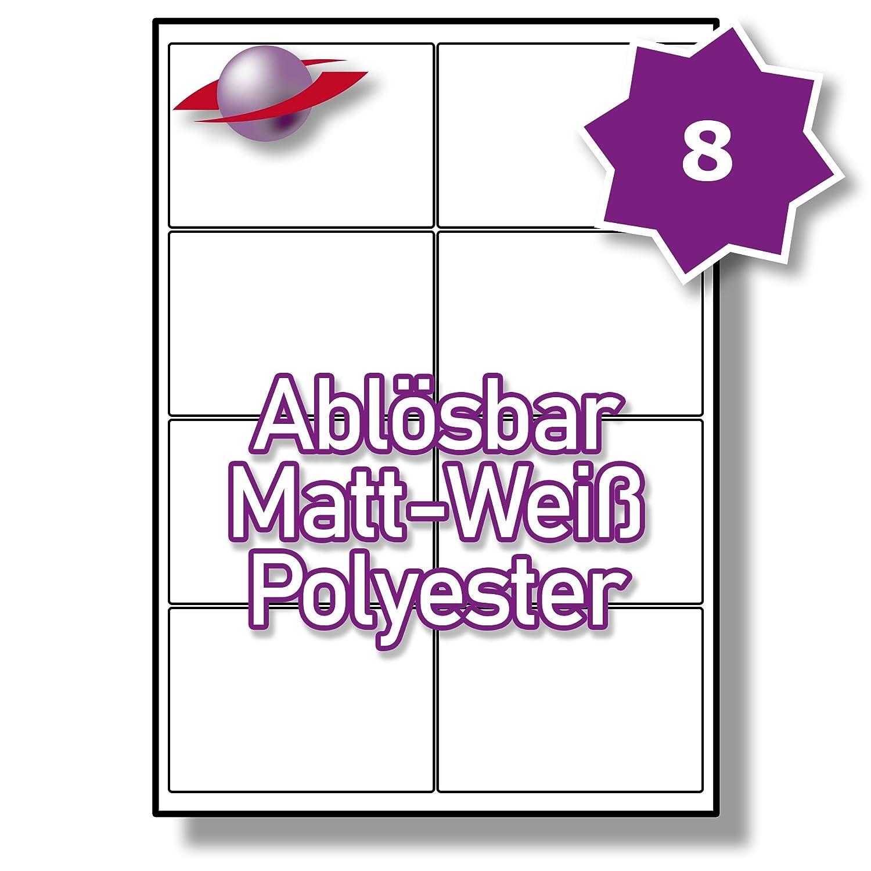 8 Pro Blatt, 250 Blätter, 2000 Etiketten. Label Planet® A4 Ablösbar Matt Weiß Polyester Etiketten Für Laserdrucker 99.1 x 67.7mm, LP8 99 MWR.