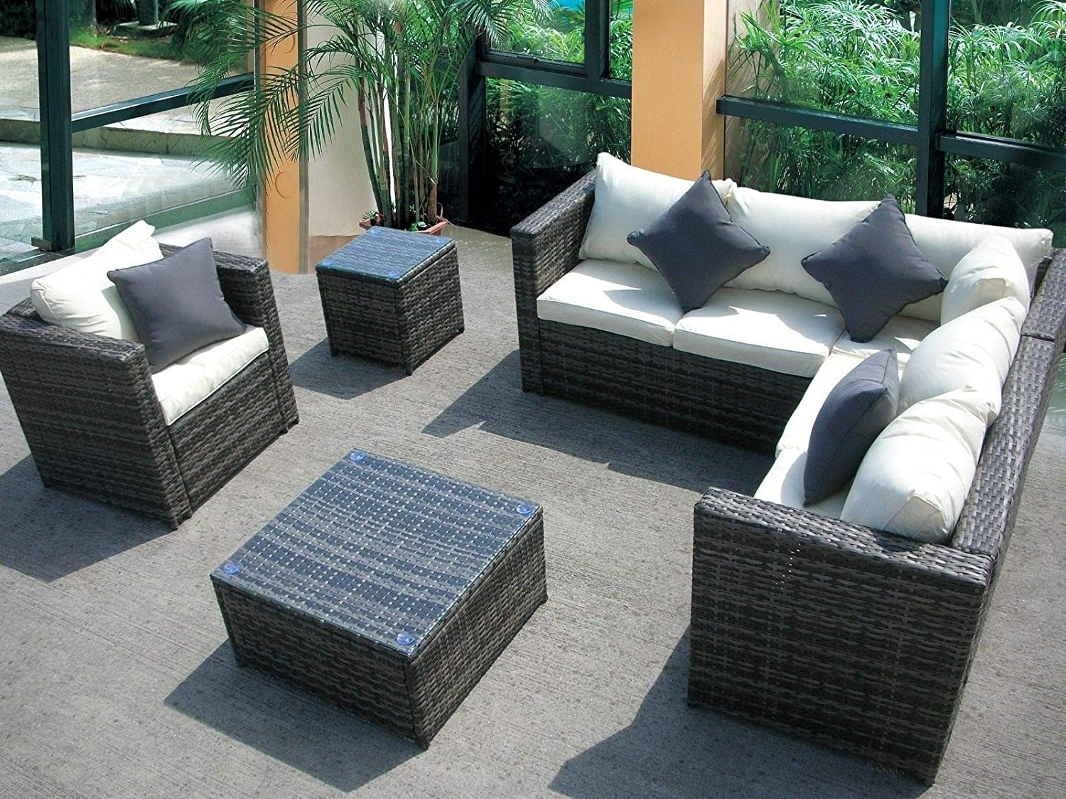 UK Leisure World - Conjunto de muebles de jardín de mimbre ...