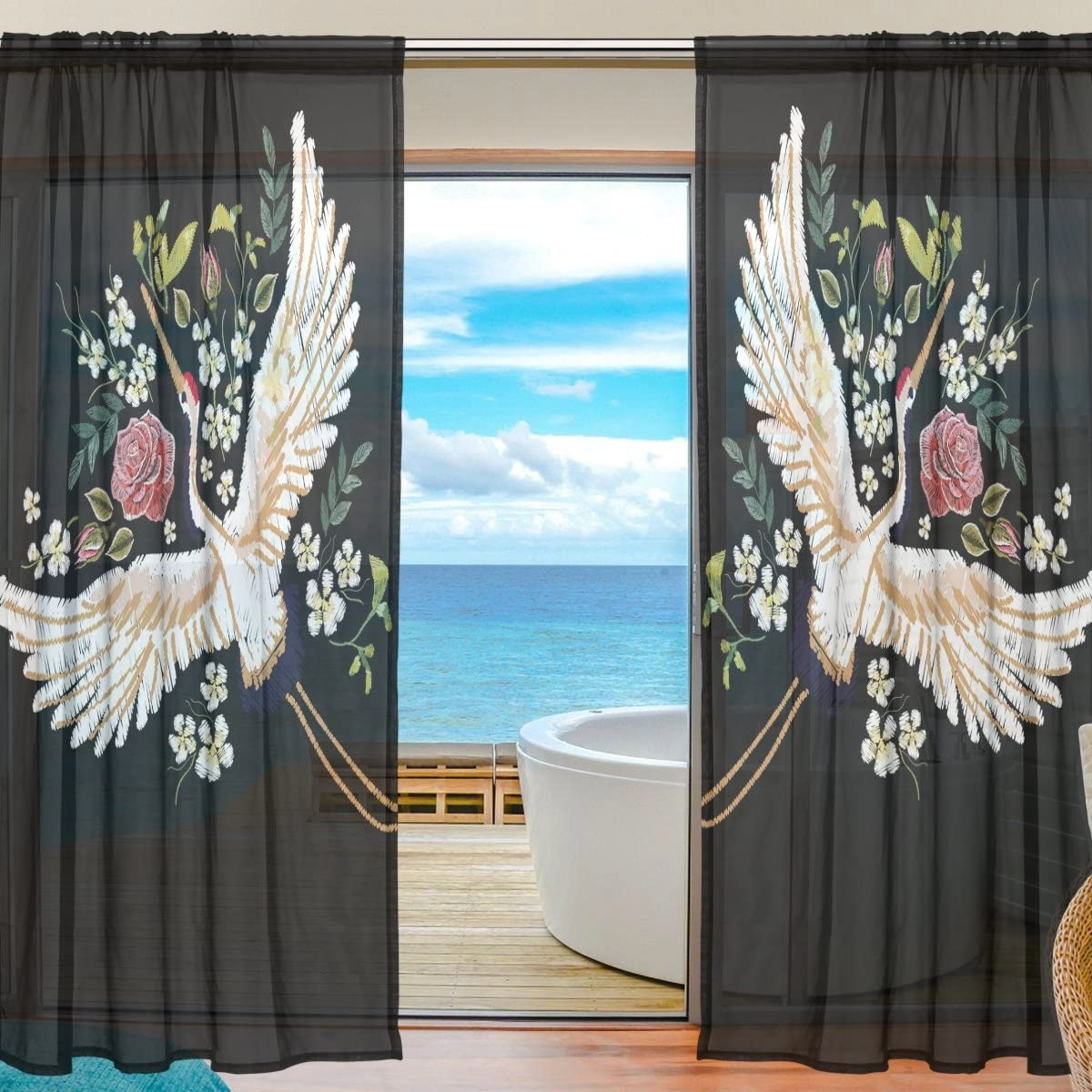 ALAZA Sheer Curtain Japanese Crane Flower Voile Tulle Window Curtain for Home Kitchen Bedroom Living Room 55×78 inches 2 panels