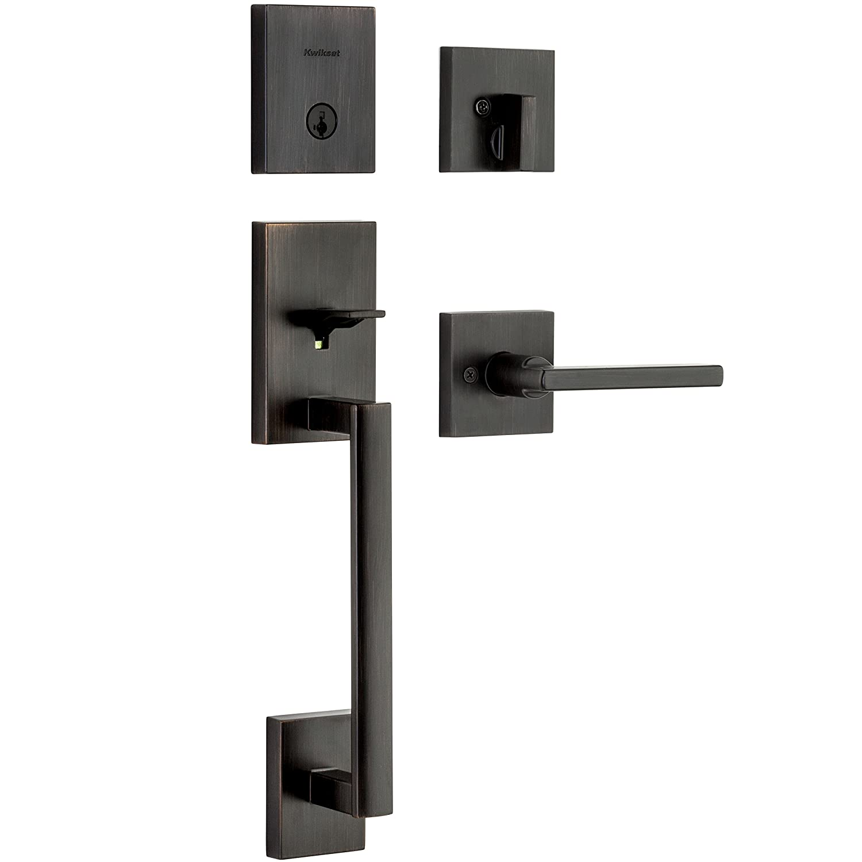 Kwikset Corporation 98180-001 Kwikset San Clemente Single Cylinder Low Profile Handleset Door Lock with Halifax Lever featuring SmartKey in Venetian Bronze,