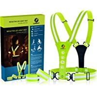 LUMEFIT High Visibility Vest | Reflective Yellow Running Vests with Armbands | High-Vis for Safety of Kids, Women, Men, Children | Adjustable Gear, 8 Bright LED for Day and Night Car, Bike, Cycling