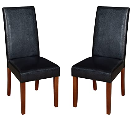 Niche Tyler Vinyl Dining Room Chair Set Of 2 Cherry Black