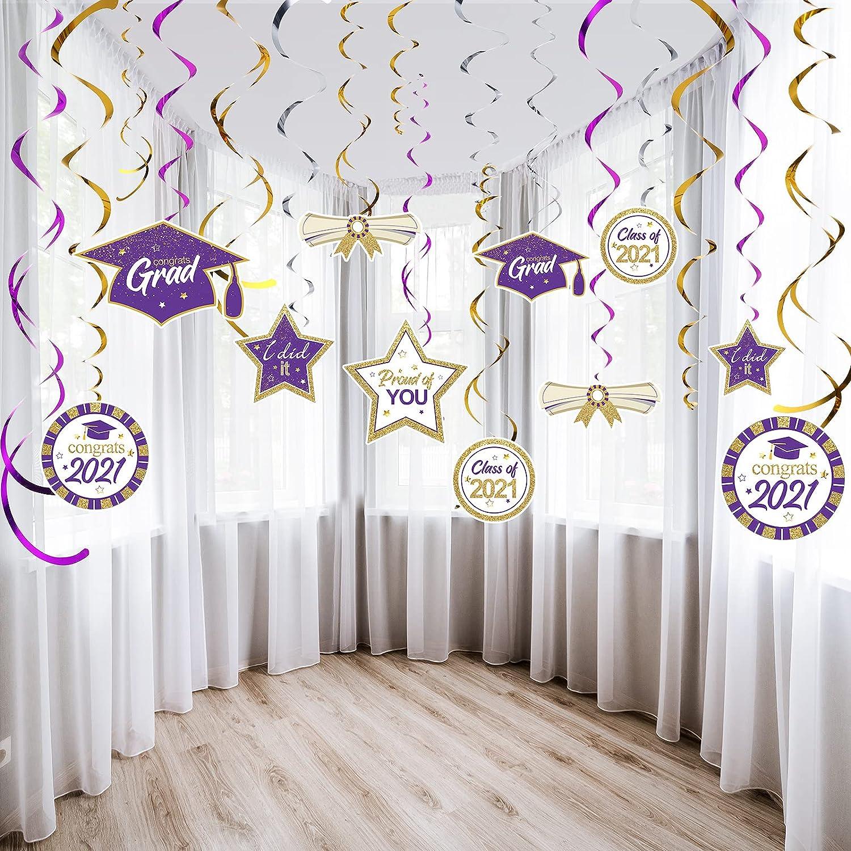 Blulu Graduation Party Decorations Kit Hanging Swirls Ornament Foil Swirls Party Ceiling Decorations 2021 Graduation Theme Party Decor for Graduation Hanging Decorations Grad Party Supplies (Purple)