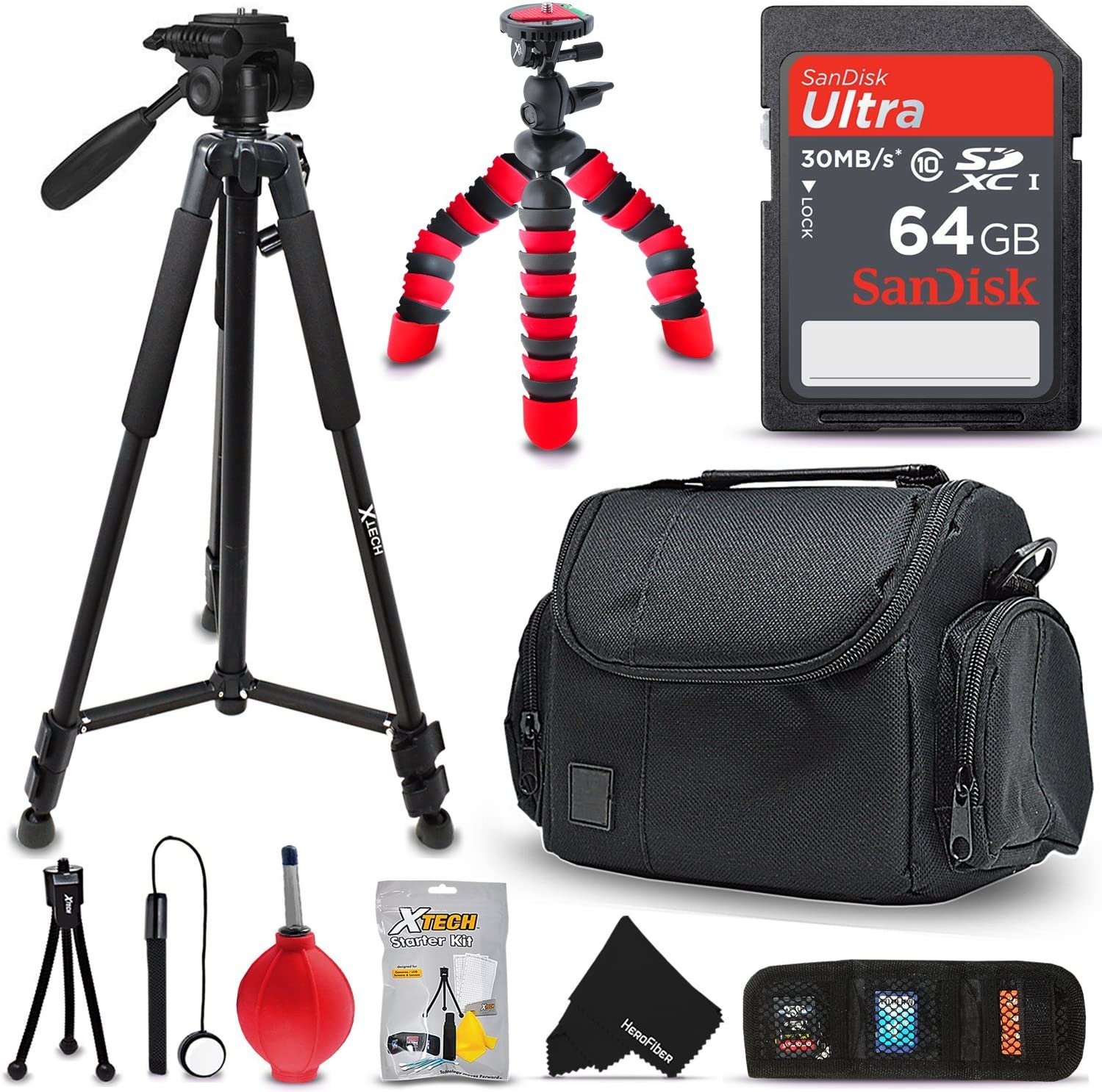 HeroFiber 60 Pro Series Lightweight Photo//Video Tripod /& Carrying Case for Sony Alpha A3000 Interchangeable Lens Digital Camera w Ultra Gentle Cleaning Cloth
