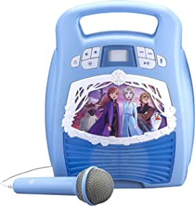 Frozen 2 Bluetooth Portable MP3 Karaoke Machine Player with Light Show Store Hours of Music with Built in Memory Sing Along Using The Real Working Microphone USB Port to Expand Your Content
