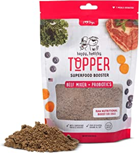 iHeartDogs Dog Food Topper - Freeze-Dried Raw Dog Food Seasoning - Grain Free Superfood Meal Mixer (Beef, 8 Ounce)