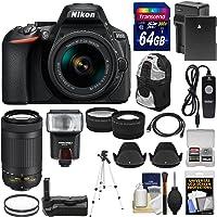 Nikon D5600 Wi-Fi Digital SLR Camera with 18-55mm VR & 70-300mm DX AF-P Lenses + 64GB Card + Case + Flash + Battery & Charger + Grip + Tripod + Kit