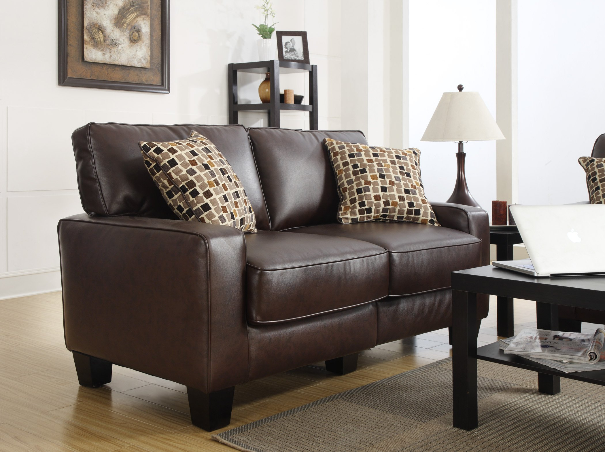 Serta RTA Palisades Collection 61'' Bonded Leather Loveseat in Chestnut Brown, CR43532P