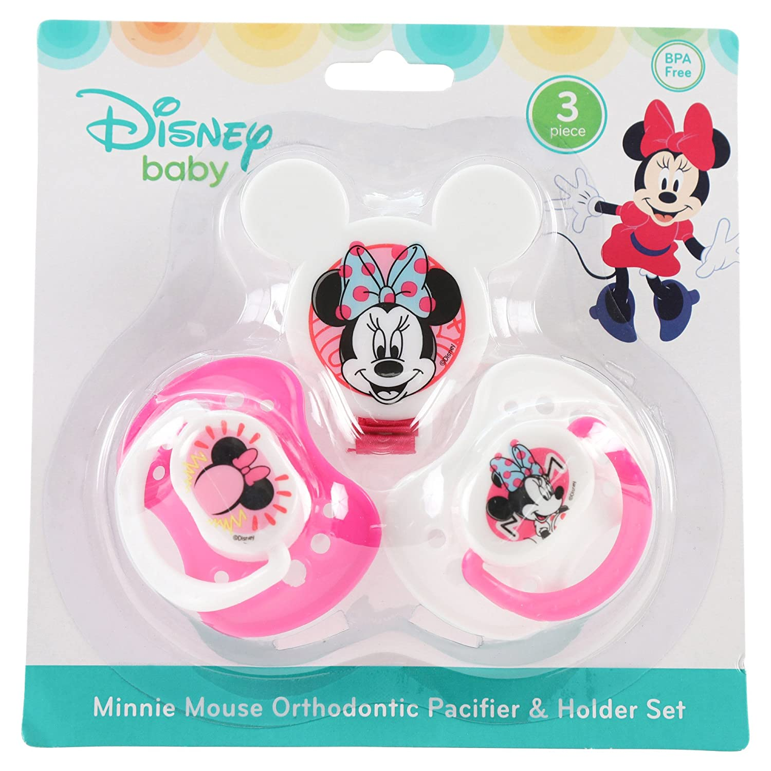 Disney Minnie Mouse y chupete Clip Set, Rosa, 2 Count: Amazon.es: Bebé