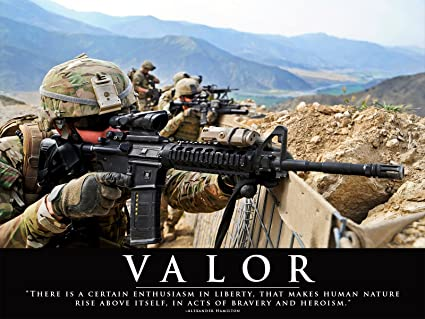 Amazoncom Army Poster Valor Quote Motivational Poster 18x24