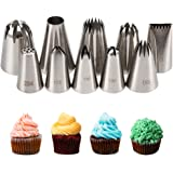 Kayaso Cake Decorating Icing Piping Tip Set, 10 X-large Decorating Tips Stainless Steel Plus 20 Disposable Pastry Bags