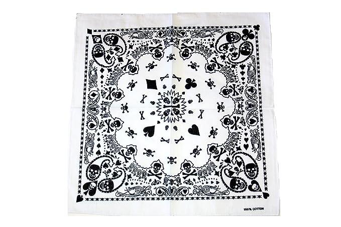Zac's Alter Ego Men's Designed Skull Bandanas, Neckerchiefs Cotton Approx   53Cm X 53Cm White/ Black Fusion Skulls & Playing Cards