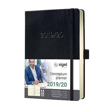 SIGEL C2001 Agenda semanal 2019 / 2020, Conceptum, 18 meses, tapa dura, 14,8 x 21,3 cm, negro