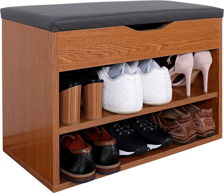 RICOO WM032-ER-A, Shoe Rack, 60x42x30 cm, Small, Bench for Wardrobe, Cabinet, Storage Box, Stand Shelf, Rustic Oak Wood Effect, Grey Seat Cushion