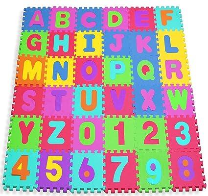 W-top 36 PCS Alfombra Puzzle para Niños Bebes de Alfabeto Números ...