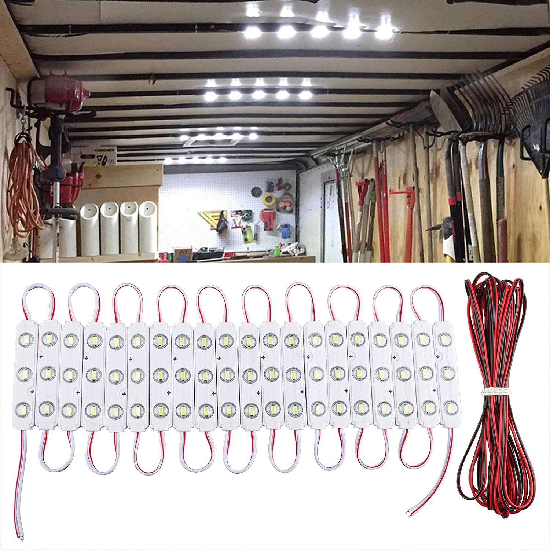 60 LEDs 12V Van Interior Light Car LED Ceiling Lights Kit, Super Bright Lighting Dome Lamp for Van RV Truck Auto Vehicle Boats Caravans Trailers Lorries Cargo Transit Bus LWB VW (20 Modules, White)