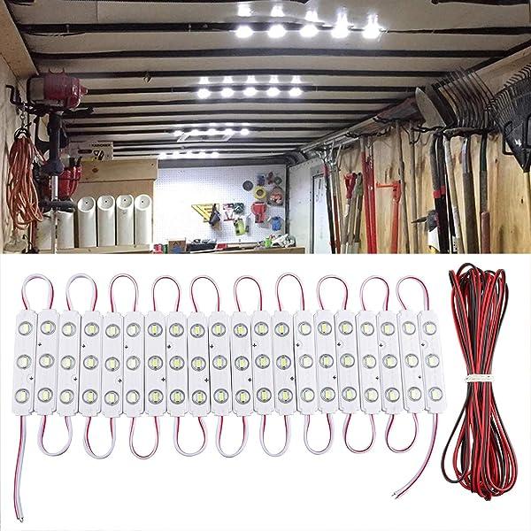 LED Light Strip 2Pcs White Car DC12V Interior Light Strip Lamp Indoor Auto Van