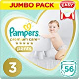 Pampers Premium Care Pants Diapers, Size 3, Midi, 6-11 kg, Jumbo Pack, 56 Count