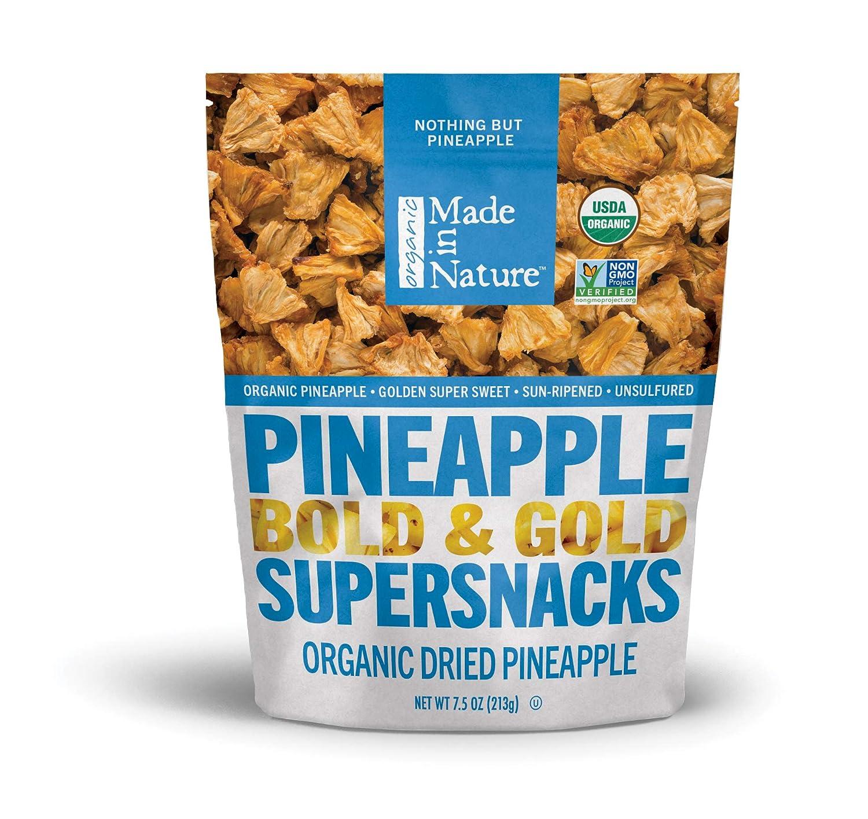 Made In Nature Organic Dried Fruit, Pineapples, 7.5oz Bag – Non-GMO, Unsulfured Vegan Snack