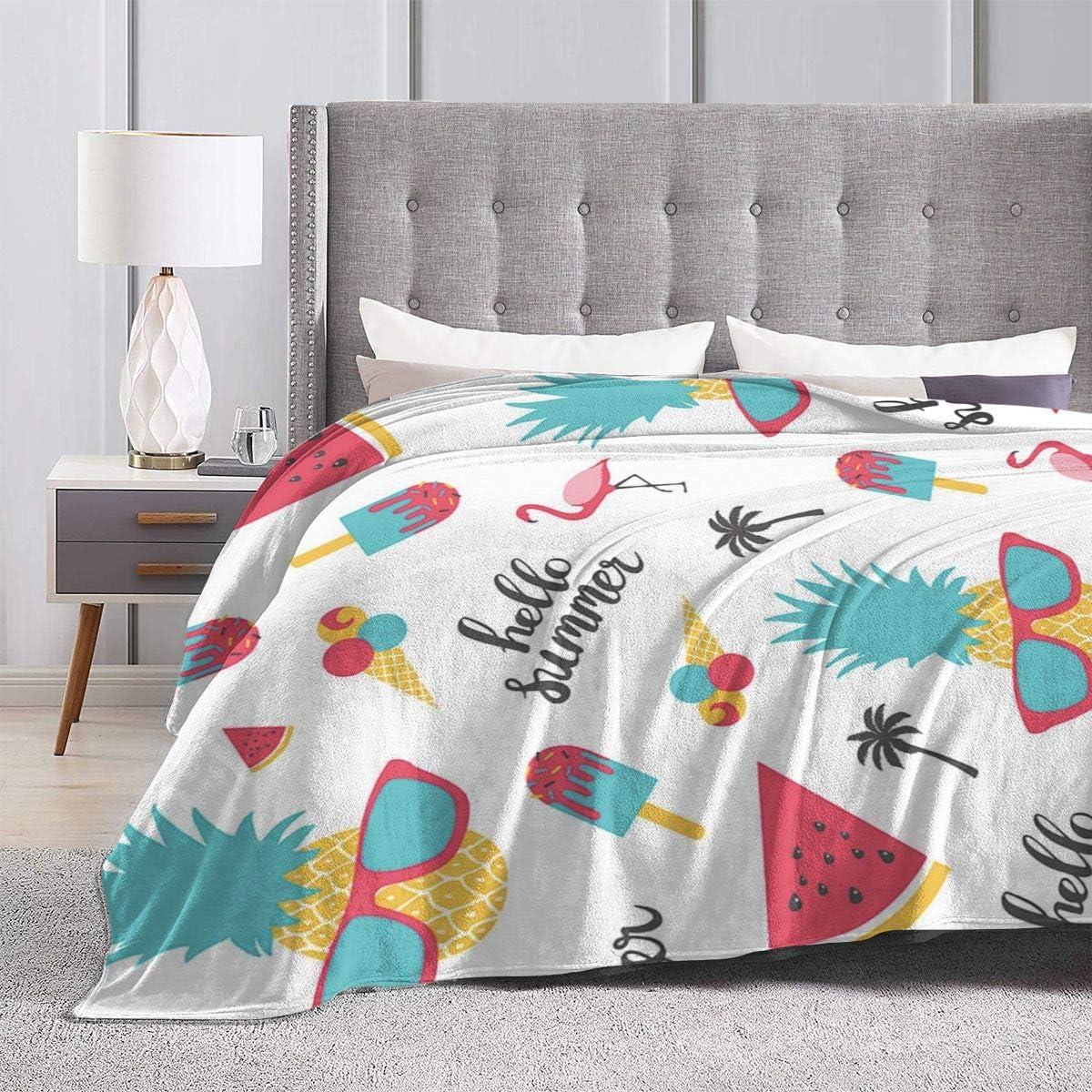 AUISS Plush Throw Velvet Blanket Hello Summer Pineapple Fluffy Fleece Carpet Chair Lounging for Women Luxurious Sleep Mat Pad Flannel Cover for Fall