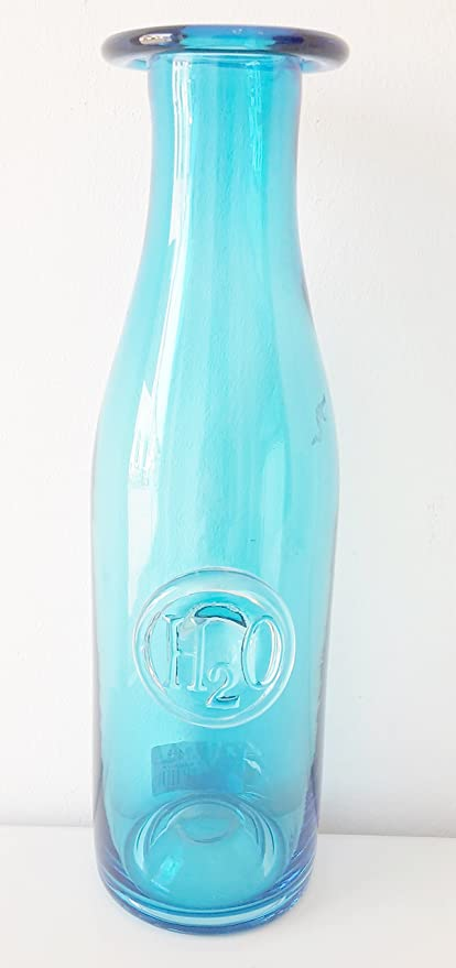 Botella de agua, cristal, azul
