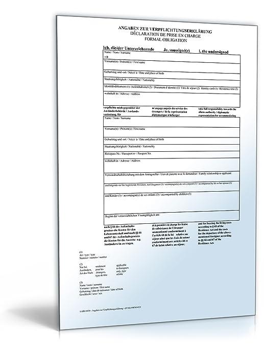 verpflichtungserklrung fr einladung visumspflichtiger auslnder pdf download amazonde software - Verpflichtungserklarung Muster