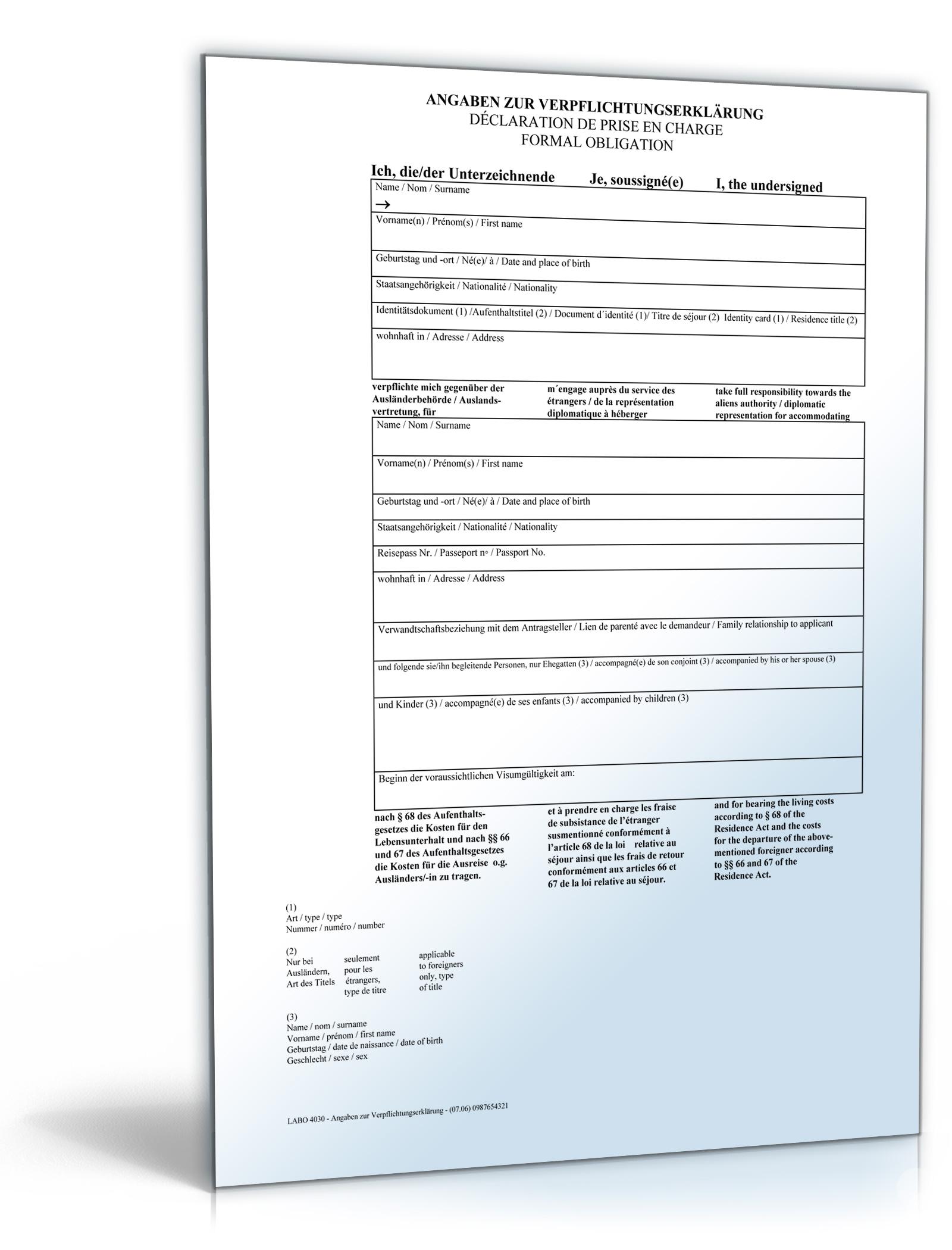 Verpflichtungserklärung für Einladung visumspflichtiger Ausländer ...