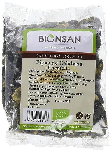 Bionsan Pipas de Calabaza Cucúrbita Ecológicas | 3 Paquetes de 250 ...