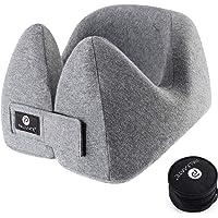 PALMATE Travel Pillow Smart Head Holders Built in Cool Vent - Headphone Friendly - Ergonomic Airplane Neck Pillow Memory Foam, Gray