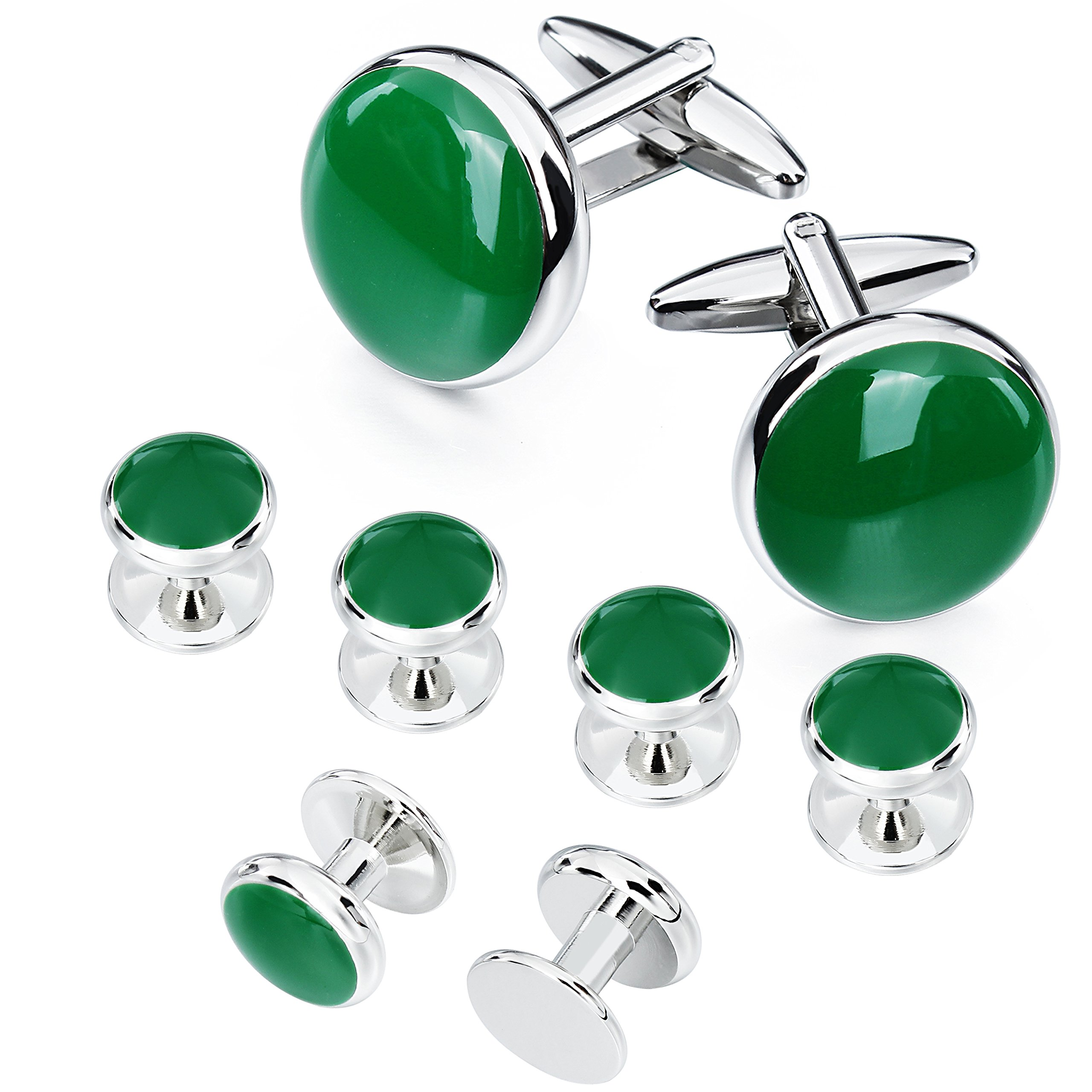 AMITER Cufflinks and Tuxedo Shirt Studs Set for Men Classic Deep Green Enamel Round Shape with Gift Box - Formal Business Wedding Anniversary Jewelry