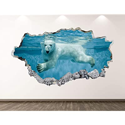 "West Mountain Polar Bear Wall Decal Art Decor 3D Smashed Underwater Animal Sticker Mural Kids Room Custom Gift B277 (50"" w x 30"" H): Home & Kitchen"