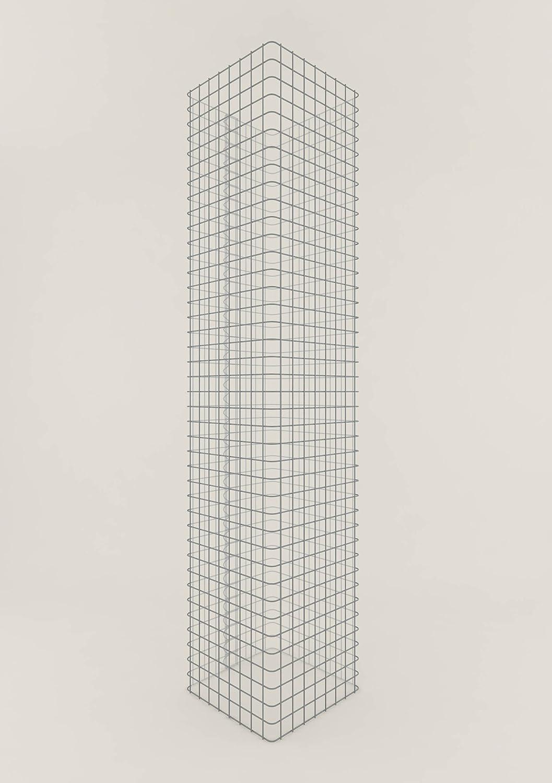 Säule Steinkorb-Gabione eckig, Maschenweite 5 x 5 cm, Höhe 160 cm, Spiralverschluss, galvanisch verzinkt (42 x 42 cm)