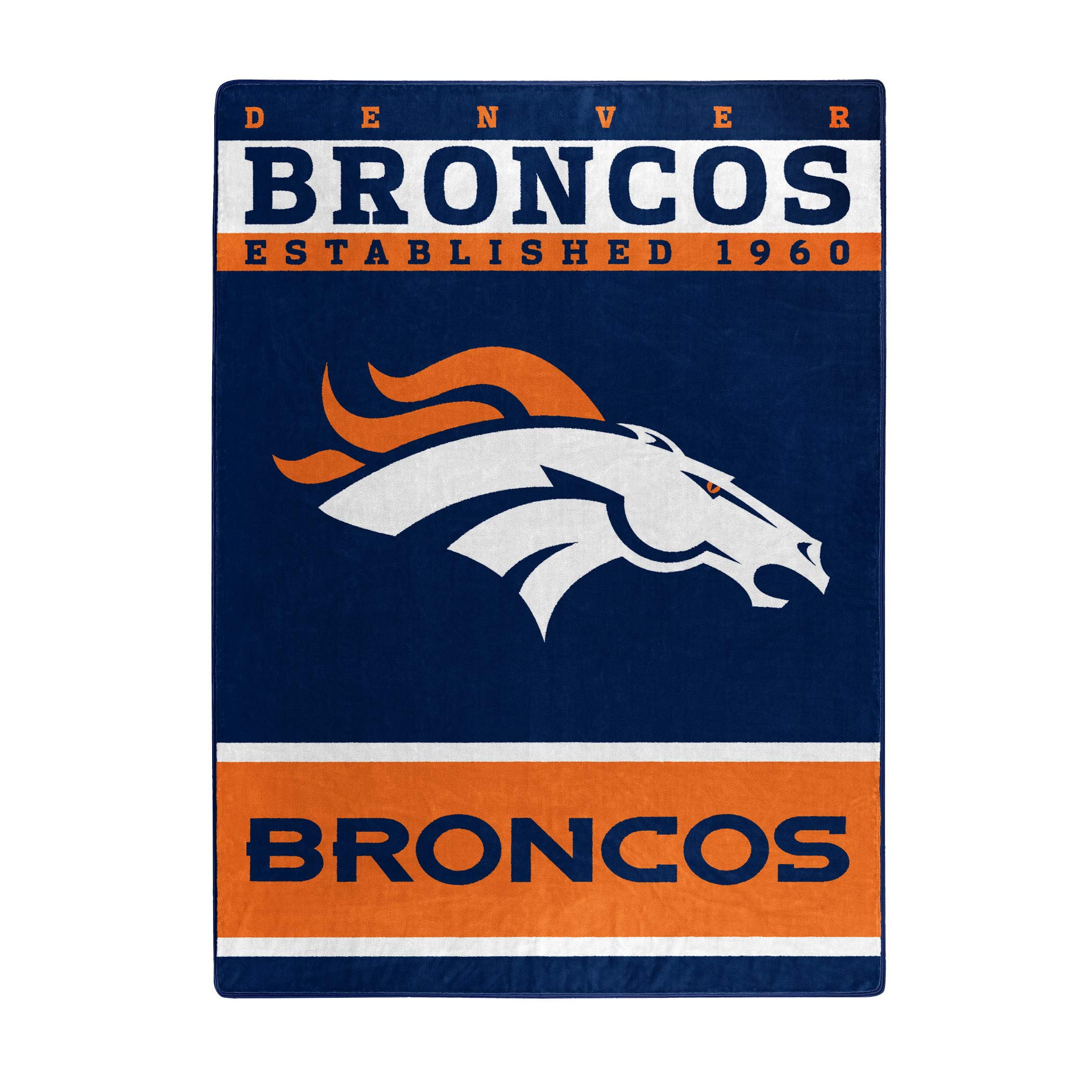 The Northwest Company Officially Licensed NFL Denver Broncos 12th Man Plush Raschel Throw Blanket, 60'' x 80'', Multi Color by The Northwest Company