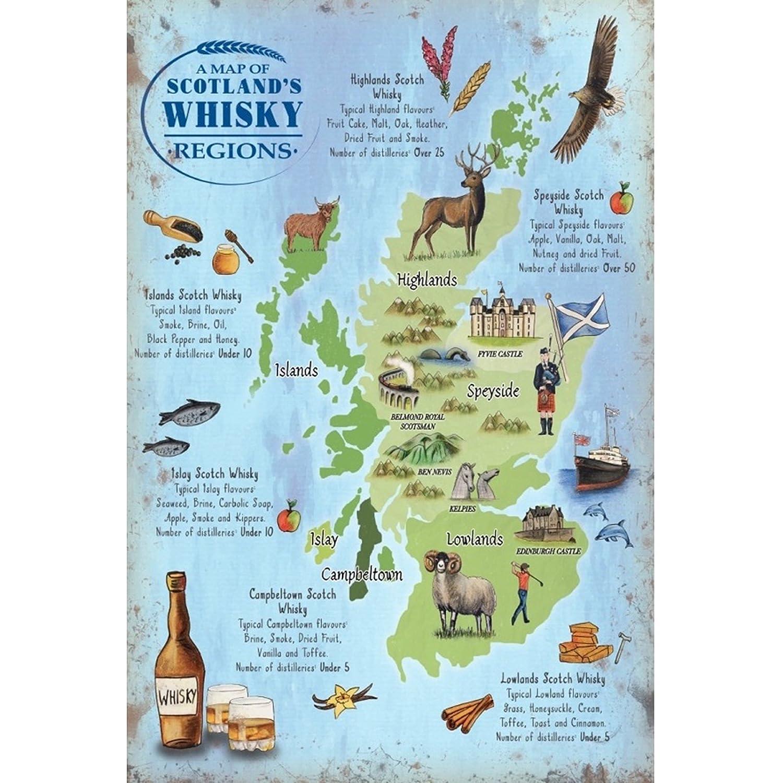 Amazon.de: Schottland Whisky Karte Mini Metall Schild zum Aufhängen ...
