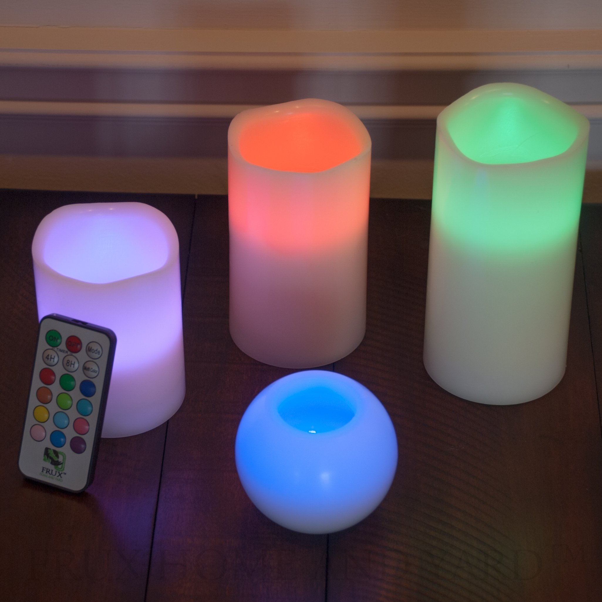 BEST FLAMELESS CANDLES WITH 12 COLOR, TIMER REMOTE CONTROL, Unscented Flickering Battery Operated Electric Candle for Home Decor, Weddings, Parties & Gifts, Set of 4' 5' 6' Pillars & BONUS Ball Candle by Frux Home and Yard (Image #5)