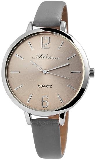 Reloj mujer piel gris plata analógico de cuarzo reloj de pulsera
