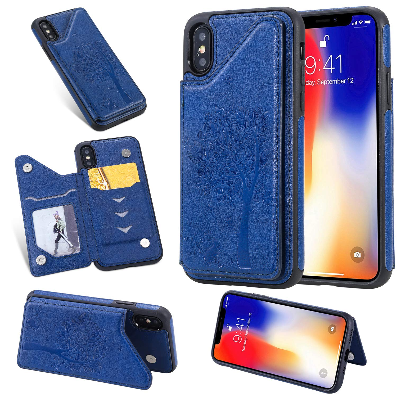 Tznzxm iPhone Xs Case,iPhone X Case, Fashion Tree Cat PU Leather Kickstand Card Slots Double Magnetic Clasp Durable Shockproof Soft TPU Back Wallet Flip Cover for iPhone X/iPhone Xs Blue by Tznzxm