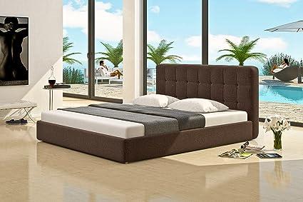 Cama de lujo cama de plástico de tapizada marrón textil de ...